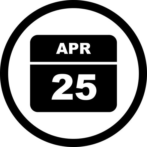April 25th Date on a Single Day Calendar vector