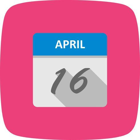 Data de 16 de abril em um calendário de dia único vetor