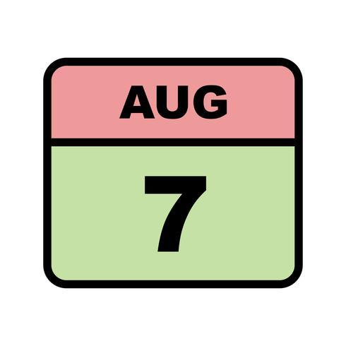 7 de agosto Data em um calendário único dia