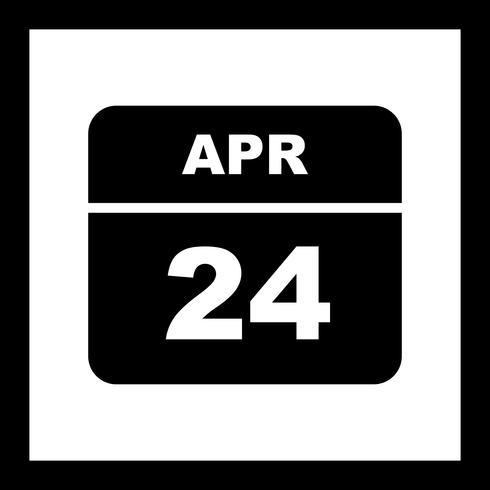 24 de abril Data em um calendário de dia único