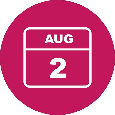 2 augusti Datum på en enkel dagskalender