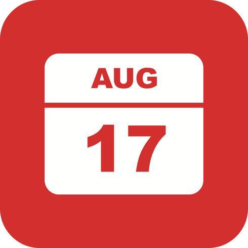17 de agosto Data em um calendário de dia único
