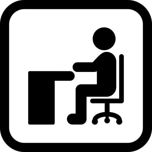 Sentado en el escritorio icono de diseño