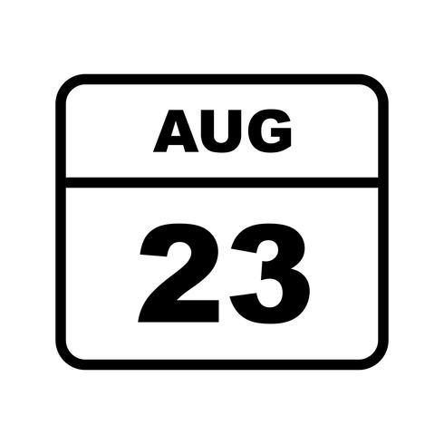 23 de agosto Data em um calendário único dia