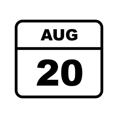 20 de agosto Data em um calendário único dia