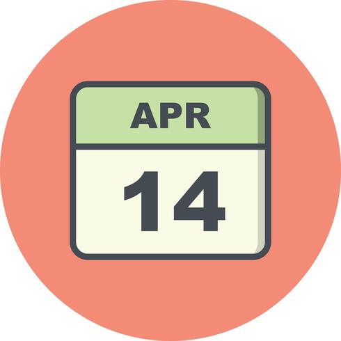 14 de abril Data em um calendário de dia único vetor