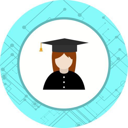Desenho de ícone de estudante feminino vetor