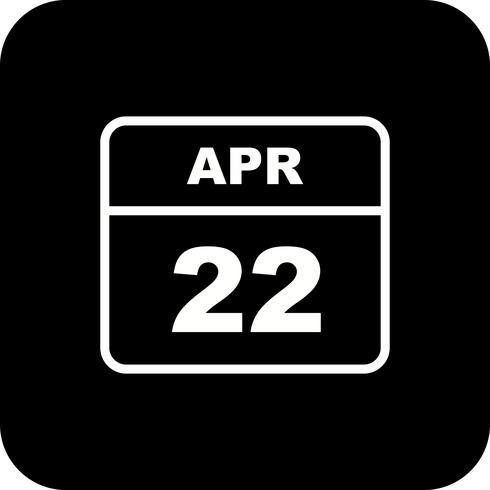 22 april Datum på en enkel dagskalender