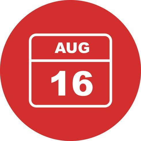 16 de agosto Data em um calendário único dia