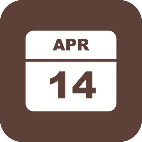 14 de abril, fecha en un calendario de un solo día