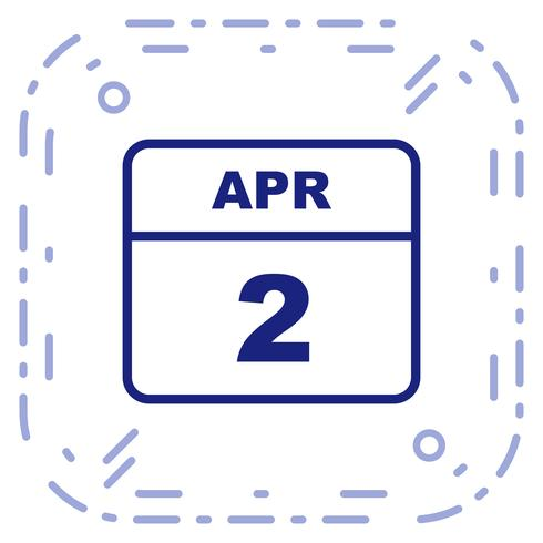 2 april Datum op een eendaagse kalender