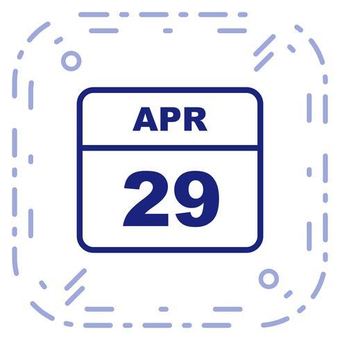 29 de abril Data em um calendário de dia único