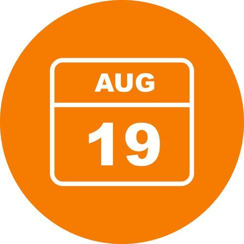 19 de agosto Fecha en un calendario de un solo día