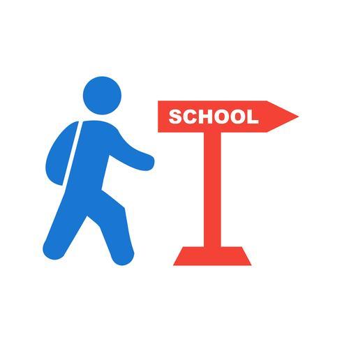 Wandelen naar school pictogram ontwerp