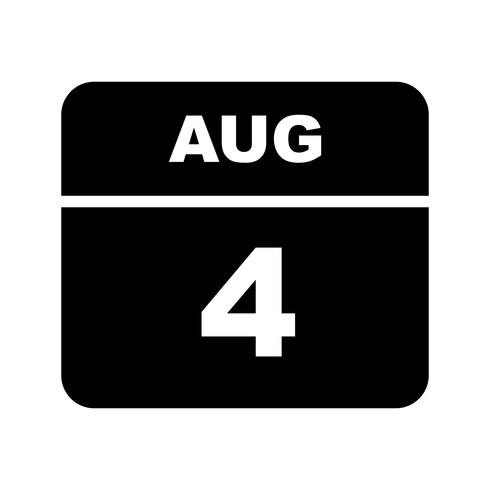August 4th Date on a Single Day Calendar