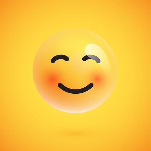 Realistischer gelber Emoticon vor einem gelben Hintergrund, Vektorillustration