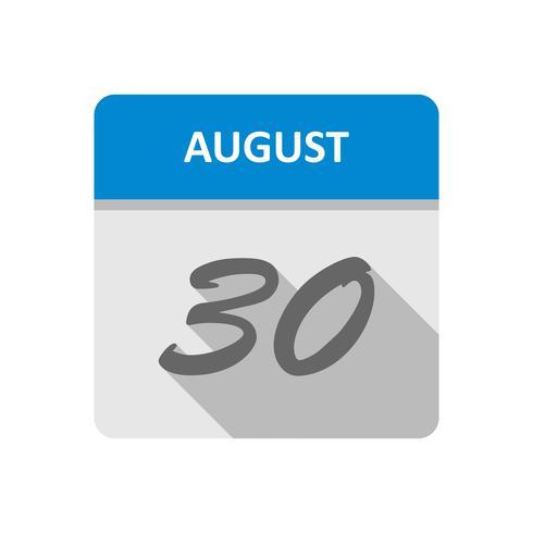 30 de agosto Data em um calendário de dia único