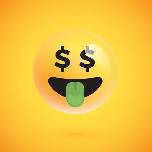 Realistisk gul uttryckssymbol framför en gul bakgrund, vektor illustration