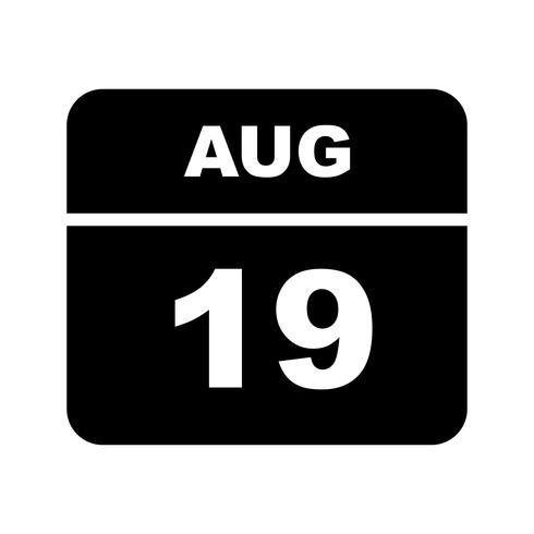 19 augustus Datum op een eendaagse kalender