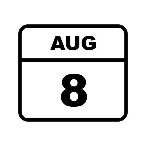 8 augustus Datum op een eendaagse kalender vector