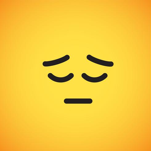 Realistic yellow emoticon in front of a yellow background, vector illustration