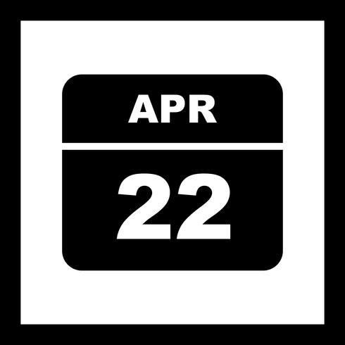 April 22nd Date on a Single Day Calendar