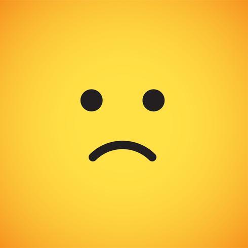 Emoticon amarelo realista na frente de um fundo amarelo, ilustração vetorial