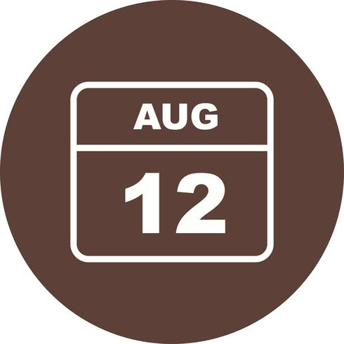 August 12th Date on a Single Day Calendar