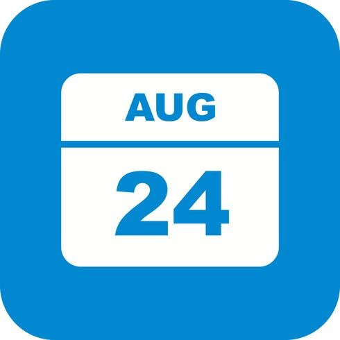 August 24th Date on a Single Day Calendar