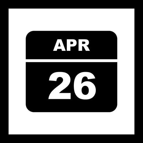 Data de 26 de abril em um calendário de dia único