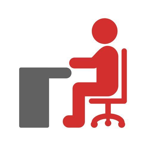 Zittend op bureau pictogram ontwerp