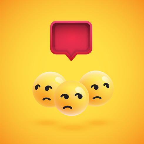 Gruppo di emoticon giallo dettagliato alto con un fumetto 3D, illustrazione di vettore