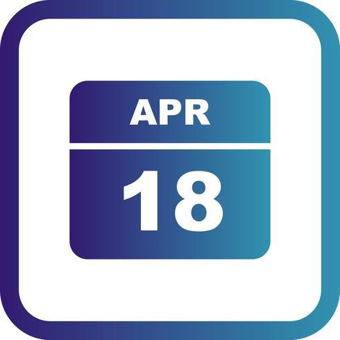 Data de 18 de abril em um calendário de dia único