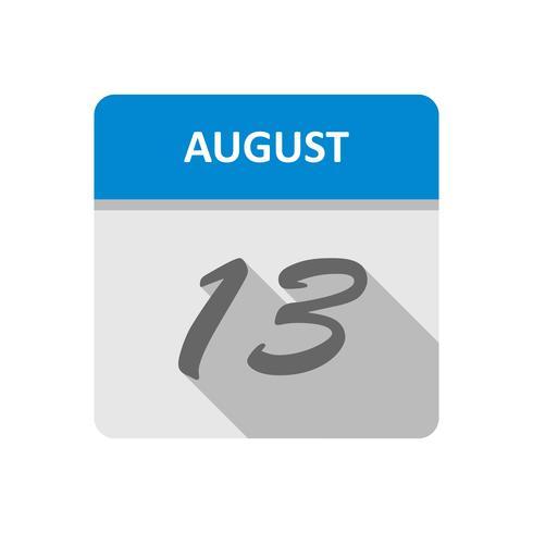 13 de agosto Data em um calendário de dia único