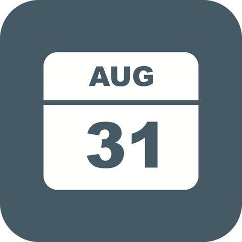 31 de agosto Data em um calendário único dia