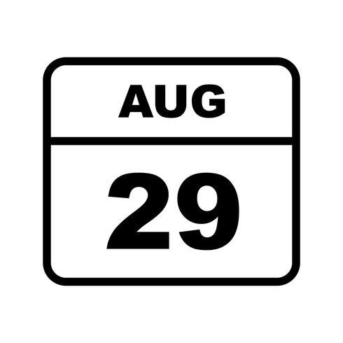 29 de agosto Data em um calendário de dia único