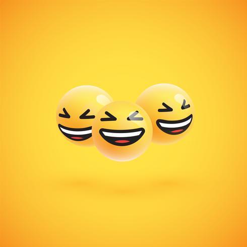 Gruppo di emoticon giallo dettagliato alto, illustrazione di vettore