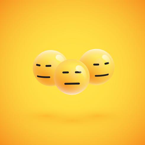 Grupo de emoticons amarelos altamente detalhados, ilustração vetorial