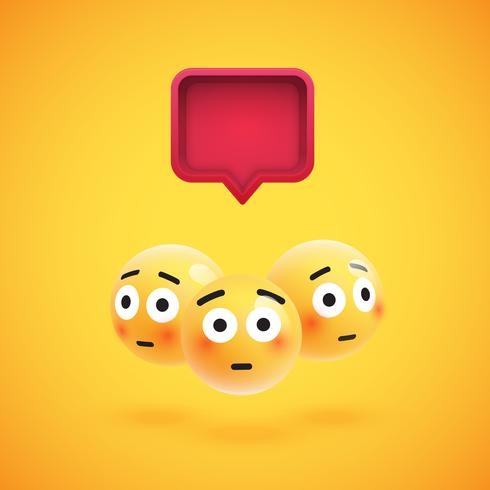 Groupe d'émoticônes jaunes détaillées avec une bulle de dialogue 3D, illustration vectorielle