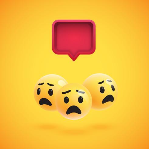 Gruppe hohe ausführliche gelbe Emoticons mit einer Luftblase 3D, Vektorillustration