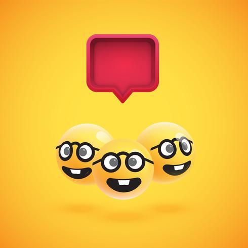 Grupp av högt detaljerade gula uttryckssymboler med en 3D-talbubbla, vektorillustration