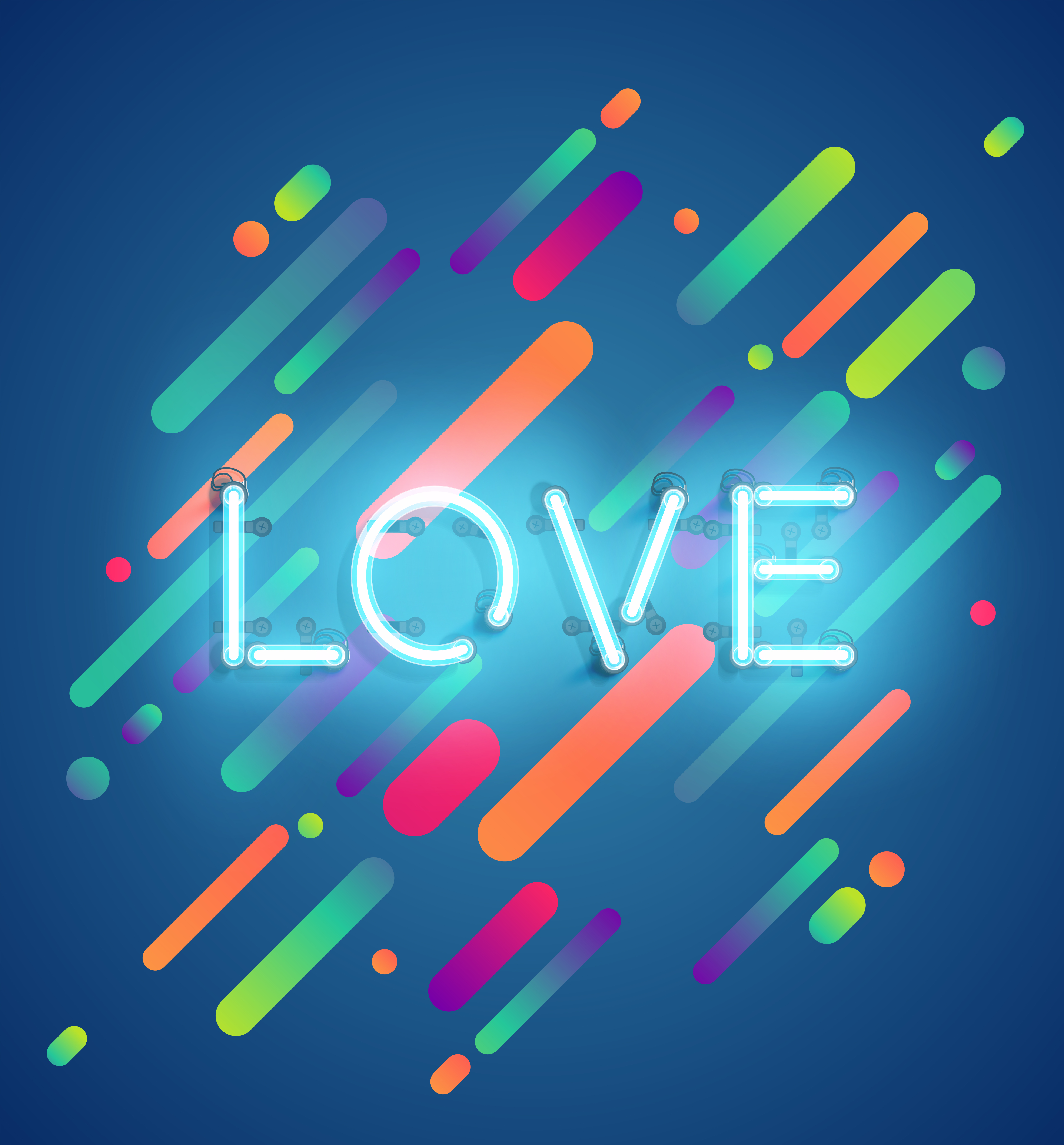 Neon word on colorful background vector illustration Download Free Vectors Clipart Graphics