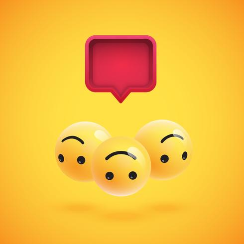 Grupo de altos emoticons amarelos detalhados com um balão 3D, ilustração vetorial
