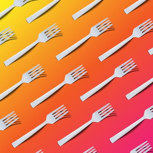 High detailed colorful  background with forks, vector illustration