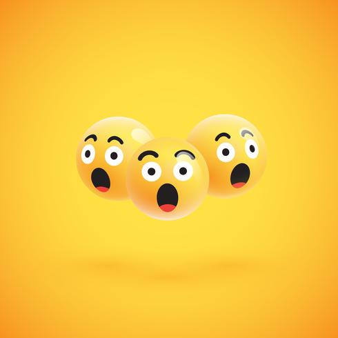 Groupe d'émoticônes jaunes détaillées hautes, illustration vectorielle