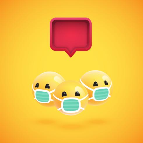 Grupo de emoticonos amarillos detallados con un bocadillo de diálogo 3D, ilustración vectorial