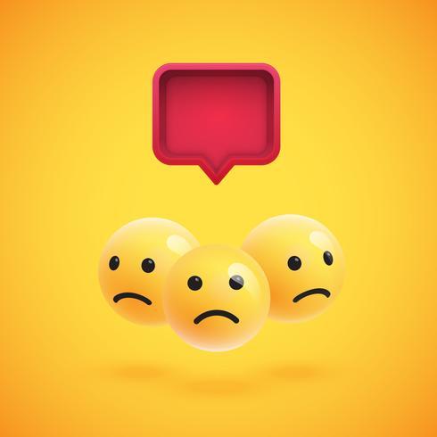 Groep van hoge gedetailleerde gele emoticons met een 3D-tekstballon, vectorillustratie