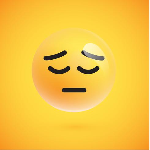Emoticon giallo realistico davanti a uno sfondo giallo, illustrazione vettoriale