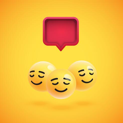 Group of high detailed yellow emoticons with a 3D speech bubble, vector illustration