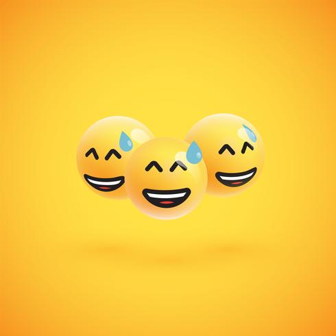 Group of high detailed yellow emoticons, vector illustration